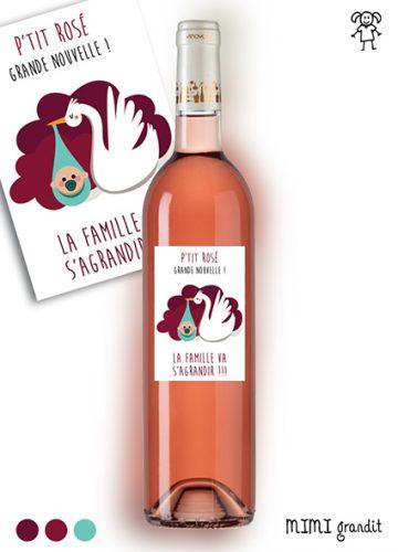 annonce grossesse etiquette rosé famille