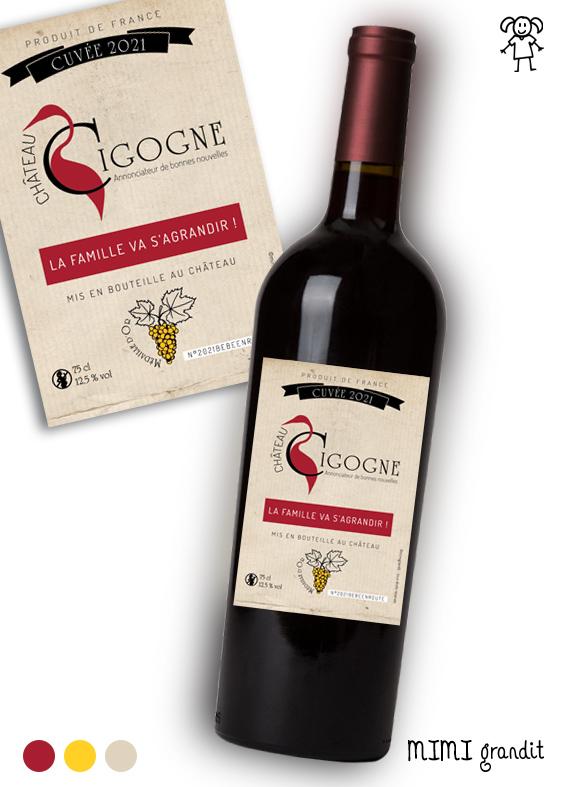 étiquette Vin Château Cigogne Version 1