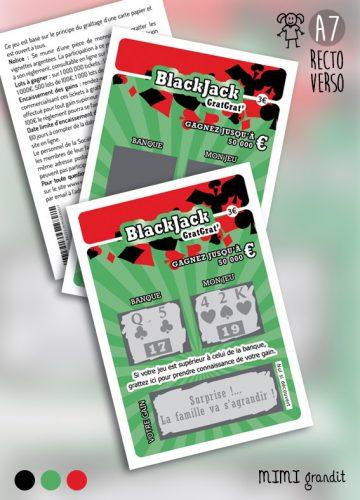 annonce grossesse tickets à gratter BlackJack réaliste ok2