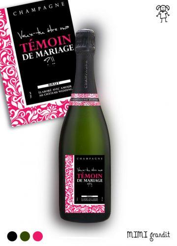 demande en témoin originale étiquette champagne