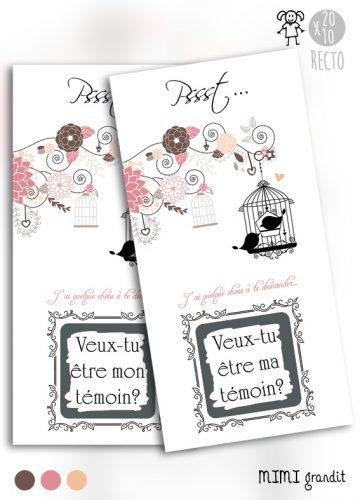 demande en témoin carte à gratter rose poudré romantique