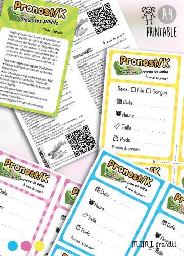pronostics bébé jeux baby shower printable
