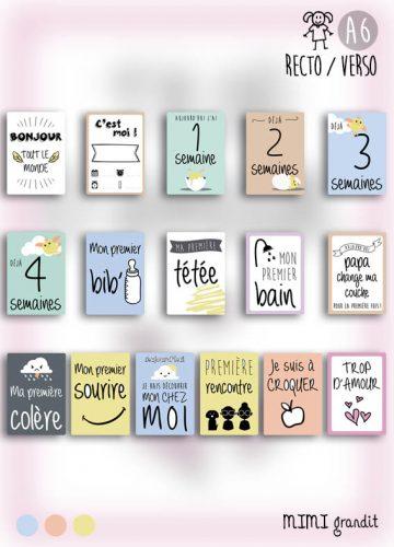 cartes étapes bébé - kit naissance