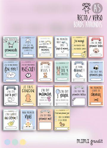 cartes étapes premières fois bébé A5