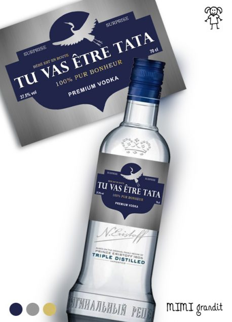 etiquette vodka annonce grossesse