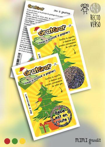 annonce grossesse Noël GratGrat tickets gratter