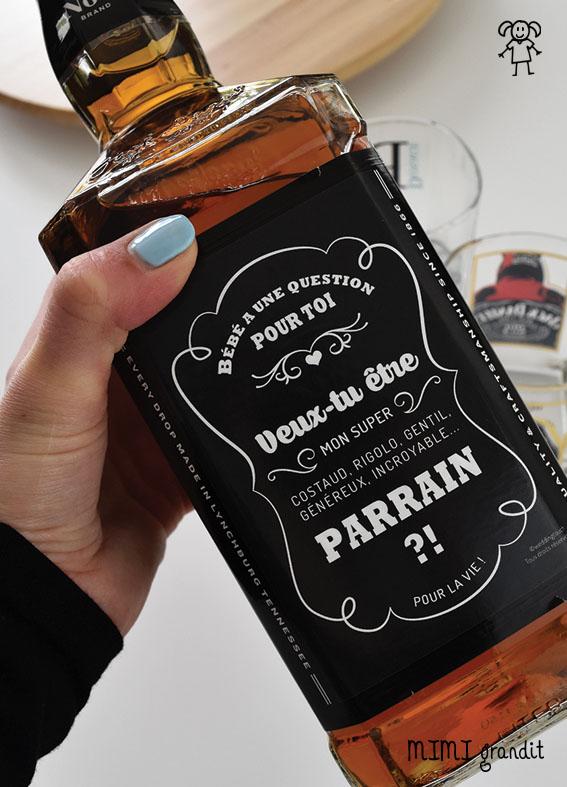demande en parrain etiquette whisky