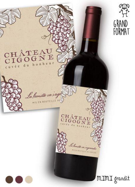 annonce-grossesse-vin-bouteille-étiquette-chateau-cigogne