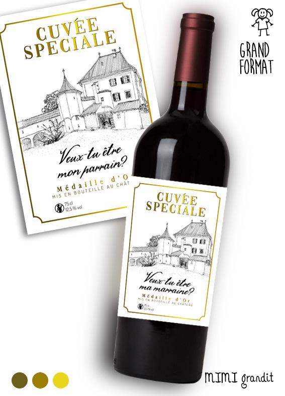 Demande Parrainmarraine étiquette Bouteille Vin V2