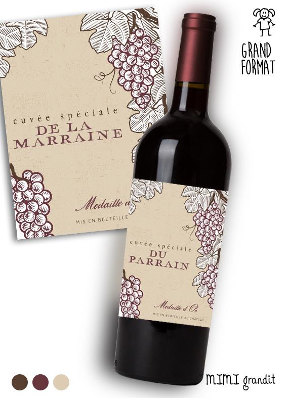 Demande Parrainmarraine étiquette Bouteille Vin V1