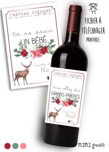 annonce-grossesse-vin-bouteille-étiquette-cuvée-de-noel