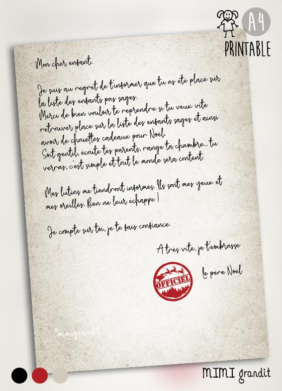 Lettre Du Pere Noel A Imprimer A La Maison Enfant Place Liste Pas Sages