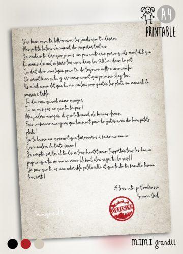 PRINTABLE lettre du pere noel wc nourriture