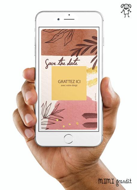 save-the-date-mariage-automne-feuille-carte-a-gratter-virtuelle-numerique 2